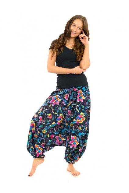 Kalhoty-šaty-top 3v1 - barevné květy