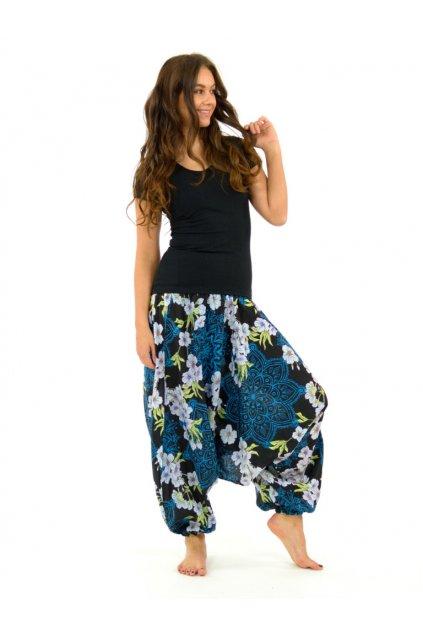 Kalhoty-šaty-top 3v1 Sakura Mandala - černo-tyrkysové