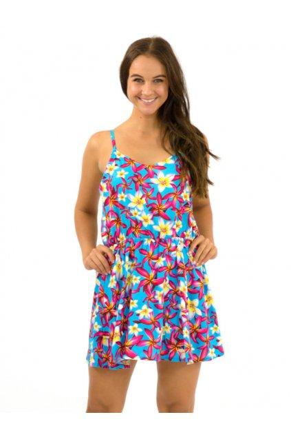 Letní šaty / tílko Plumerie - tyrkysové