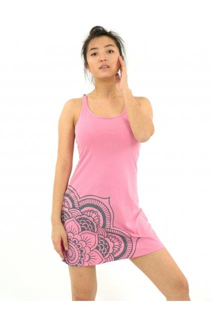 Letní šaty Mandala - růžové s šedou