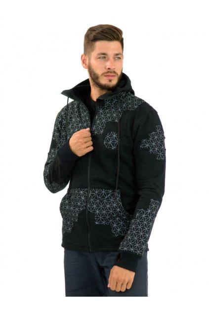 Mikina/bunda s kapucí Raju - černá s bílou