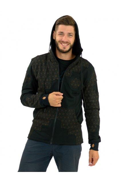 Mikina/bunda s kapucí Raju - černá s hnědou