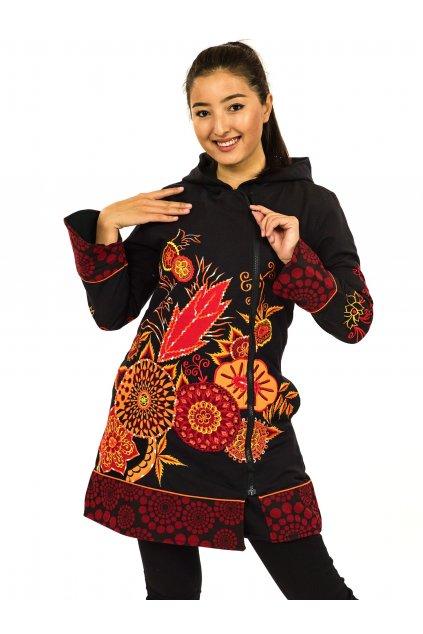 Podzimní/zimní kabát Heena - černý s červenou