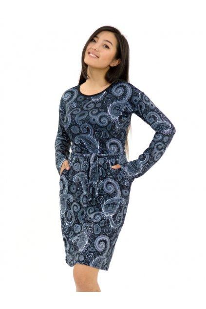 Pouzdrové šaty Paisley - černá s bílou