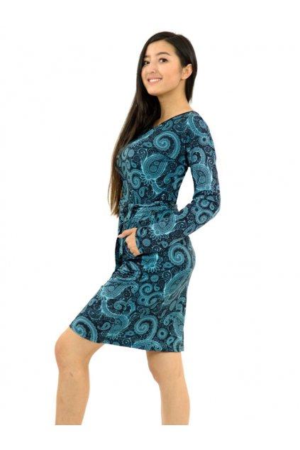 Pouzdrové šaty Paisley - černá s tyrkysovou
