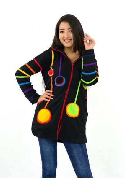 Prodloužená mikina/kabátek Bubble s kapucí a zipem - černá