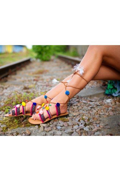 Ručně vyráběné sandále gladiátorky - barevné