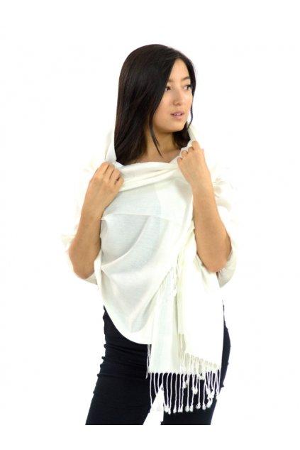 Šátek pašmína Nepal - bílá