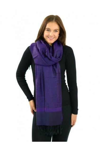 Šátek pašmína Nepal - fialová