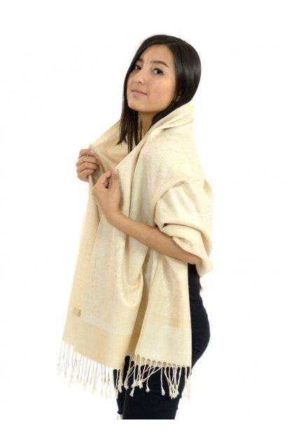 Šátek pašmína Nepal - krémová