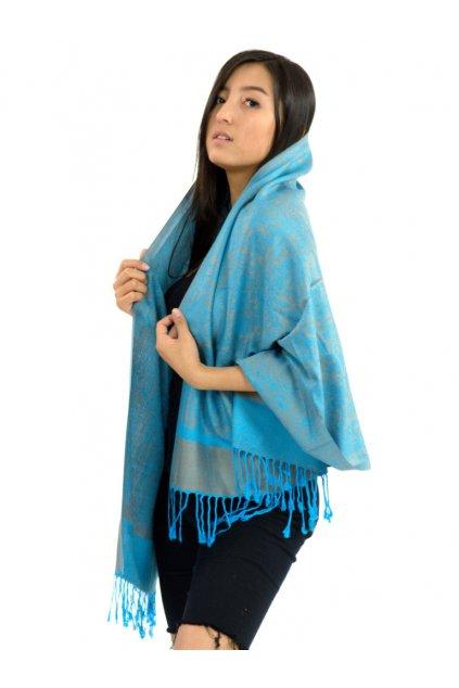Šátek pašmína Nepal - světle modrá