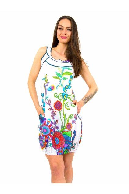 Šaty Garden Baloon - bílé s květinami