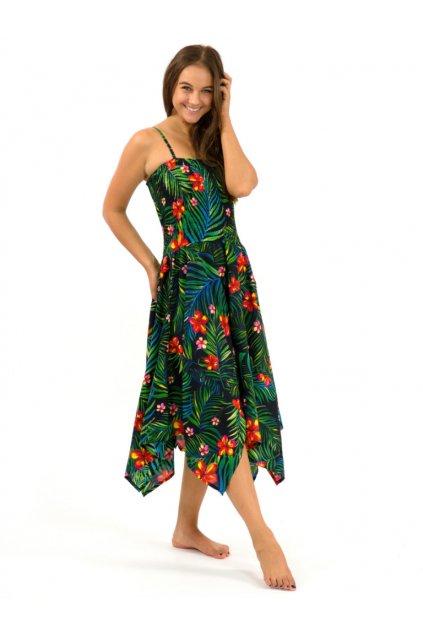 Šaty-sukně 2v1 Dawa - Listy s květy