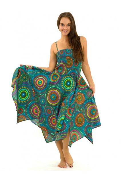 Šaty-sukně 2v1 Dawa Dot - tyrkysové