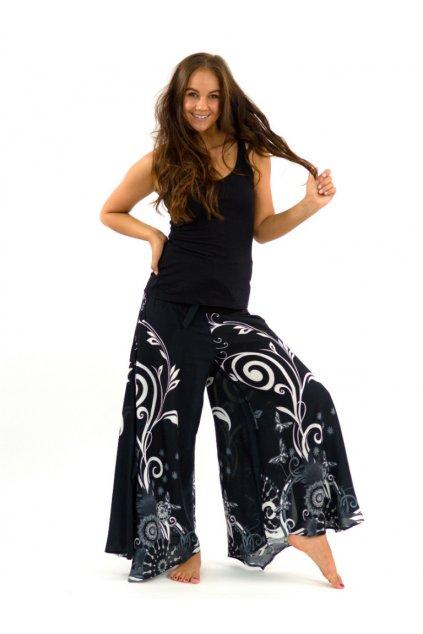 Široké kalhoty Suwa - černo-bílé