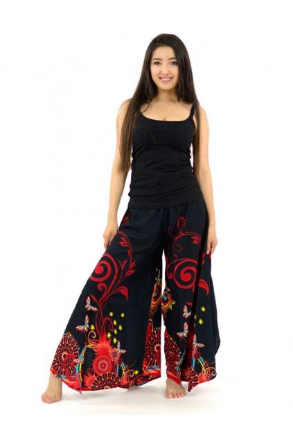Široké kalhoty Suwa - černo-červené