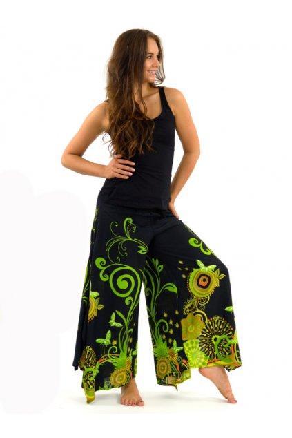 Široké kalhoty Suwa - černá se zelenou