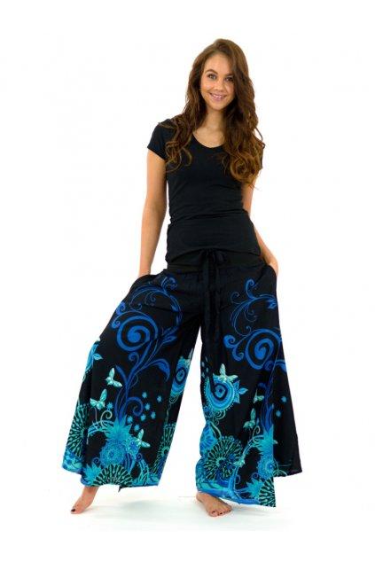 Široké kalhoty Suwa - černo-tyrkysové
