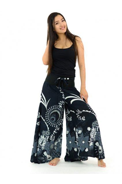 Široké kalhoty Tika - černé s bílou