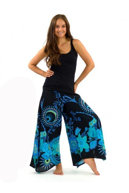 Široké kalhoty Tika - černé s tyrkysovou