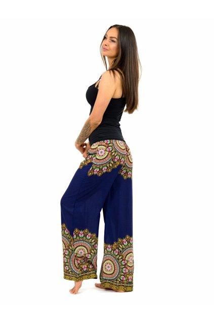 Široké vzdušné kalhoty BOHO - modré