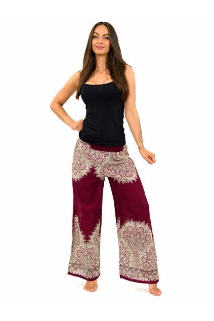 Široké vzdušné kalhoty MANDU - bordó