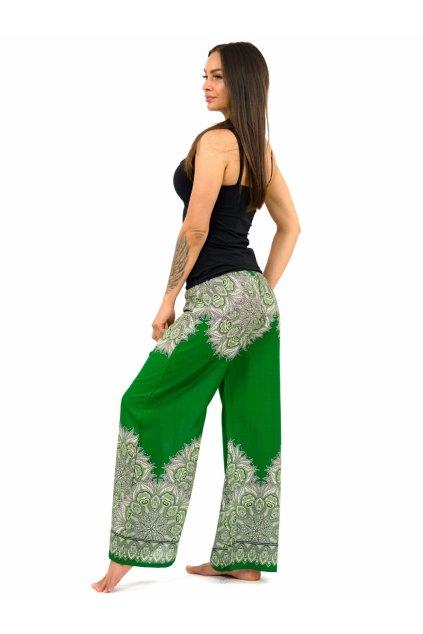 Široké vzdušné kalhoty MANDU - zelené