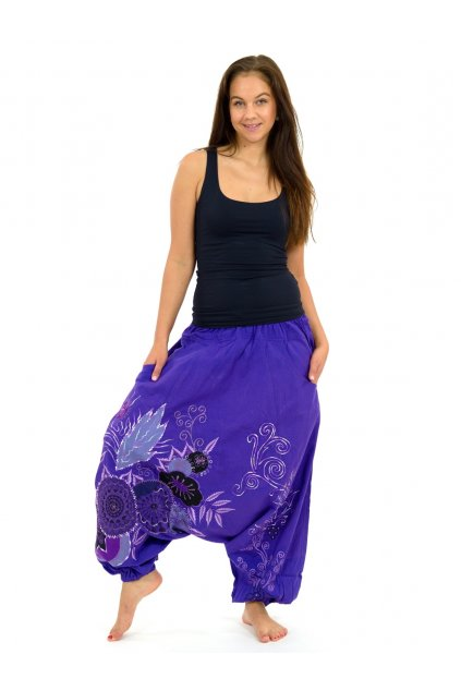 Teplejší harémové kalhoty Asmita - fialové