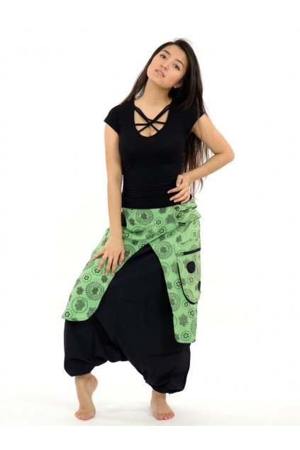 Teplejší harémové kalhoty Prajita - limetkové