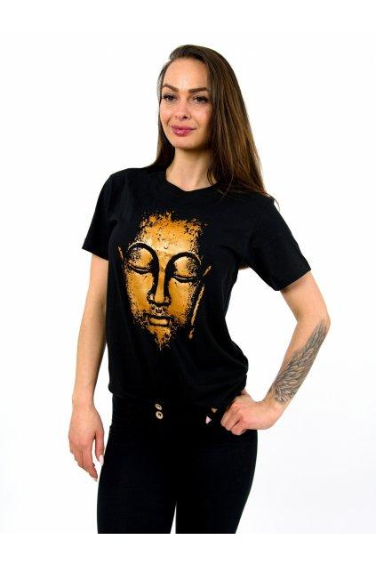 Tričko s potiskem Buddhova hlava - černé se zlatou