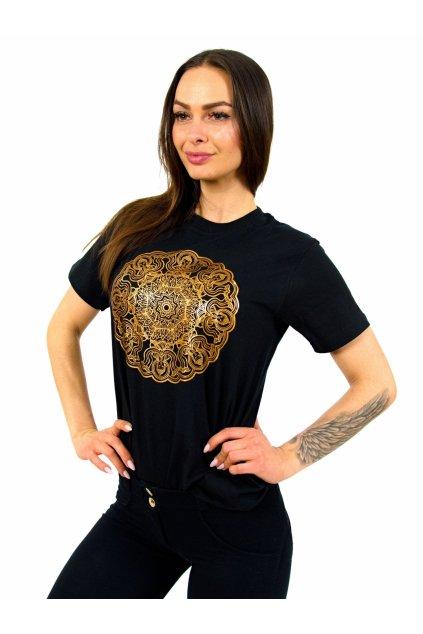 Tričko s potiskem Mandala - černé se zlatou