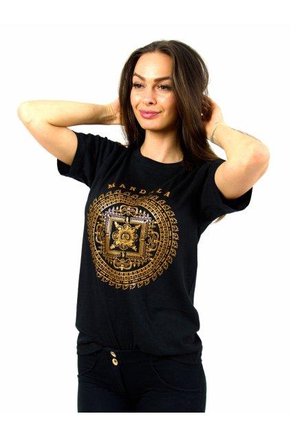 Tričko s potiskem Mandala Buddha - černé se zlatou