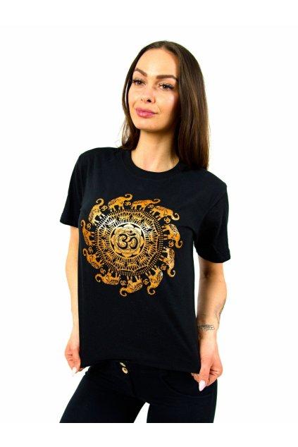 Tričko s potiskem Mandala Slon - černé se zlatou
