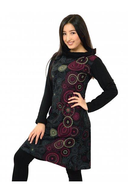 Tunika / šaty s límcem Sarita - černá s růžovou