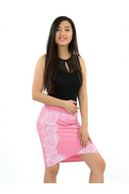 Zavinovací sukně Mandala - růžová s bílou