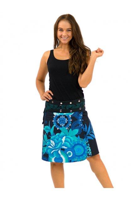 Zavinovací sukně s kapsičkou Gauri - černo-tyrkysová