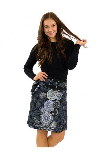 Zavinovací sukně s kapsičkou Kara - černá s béžovou