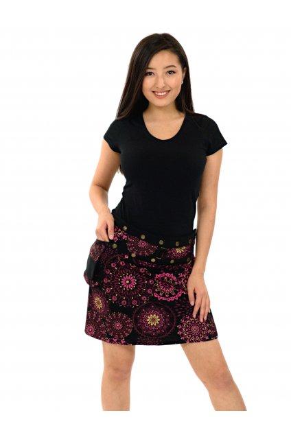 Zavinovací sukně s kapsičkou Kara - černá s růžovou