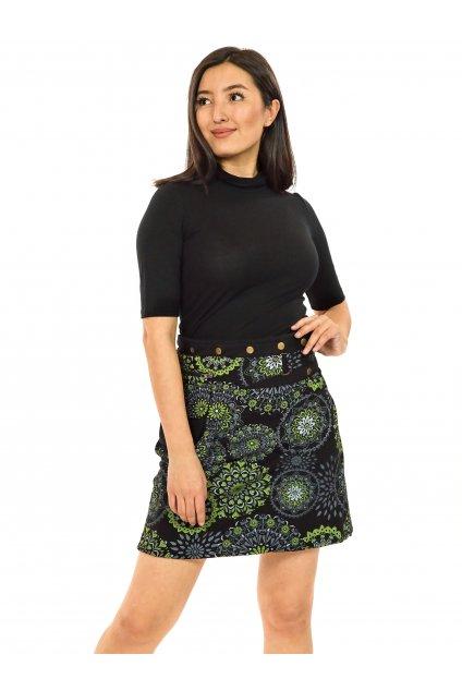 Zavinovací sukně s kapsičkou Kara - černá s tyrkysovou