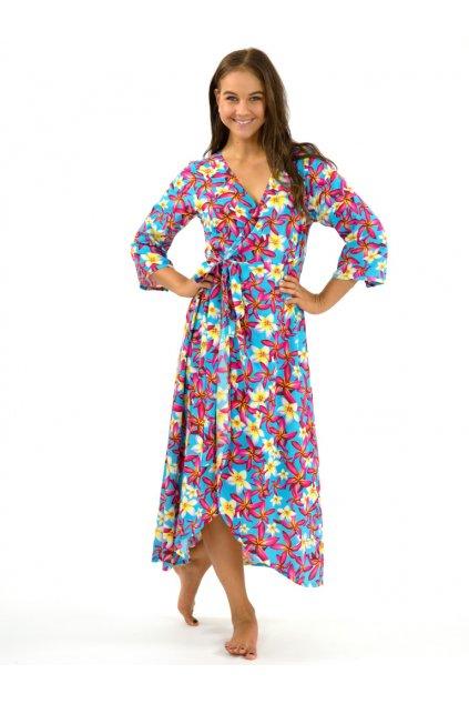 Zavinovací šaty/kardigan 2v1 - Tyrkysové plumerie