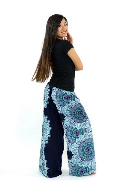 Zavinovací široké kalhoty Hasita - černo-tyrkysové