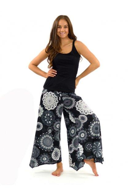 Široké kalhoty Indha - černá s bílou