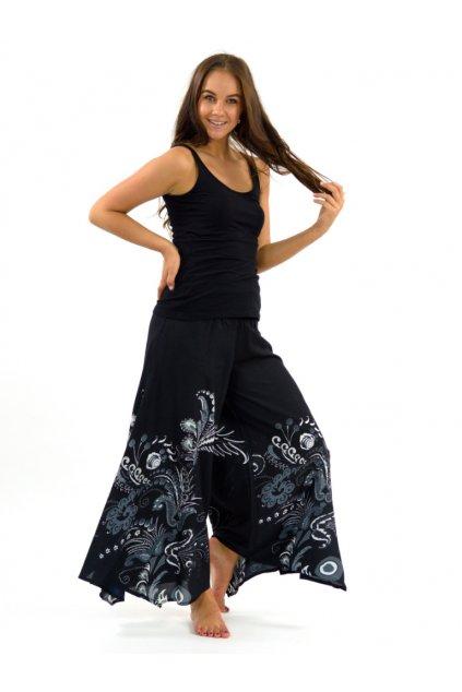Široké kalhoty Samsa - černá s bílou