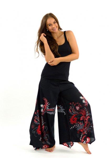 Široké kalhoty Samsa - černé s červenou