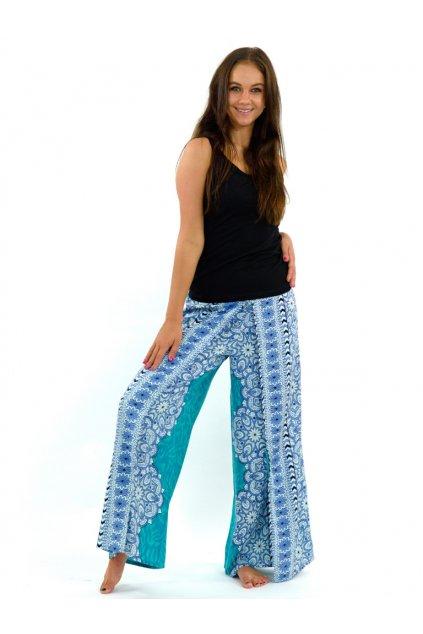 Zavinovací široké kalhoty Bhakti - tyrkysové