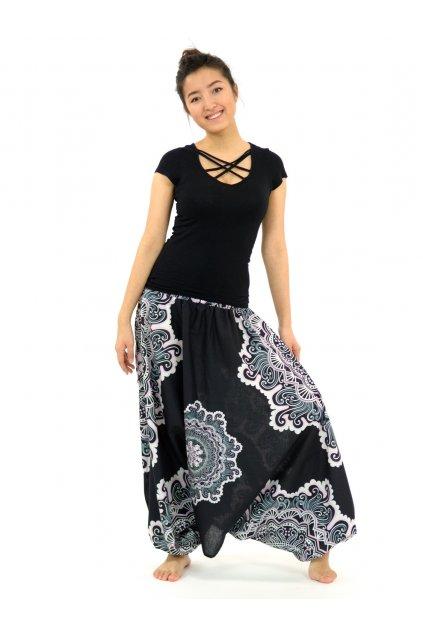 Kalhoty-šaty-top 3v1 Mandala SUN - černo-bílé