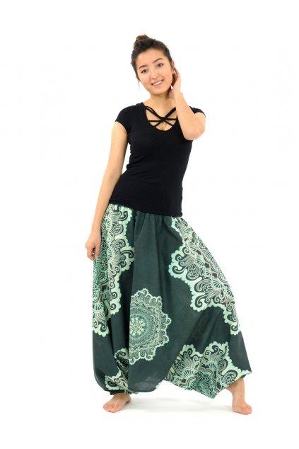 Kalhoty-šaty-top 3v1 Mandala SUN - tyrkysové