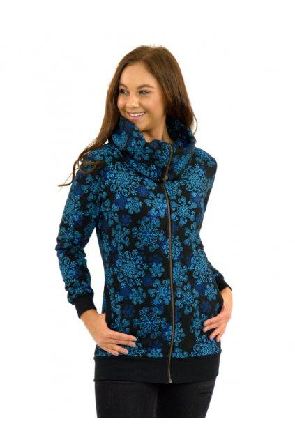 Mikina na zip s maxi límcem KEA - tyrkysová