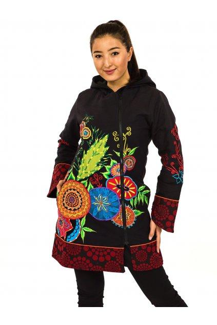 Podzimní/zimní kabát Heena - černý s barvami