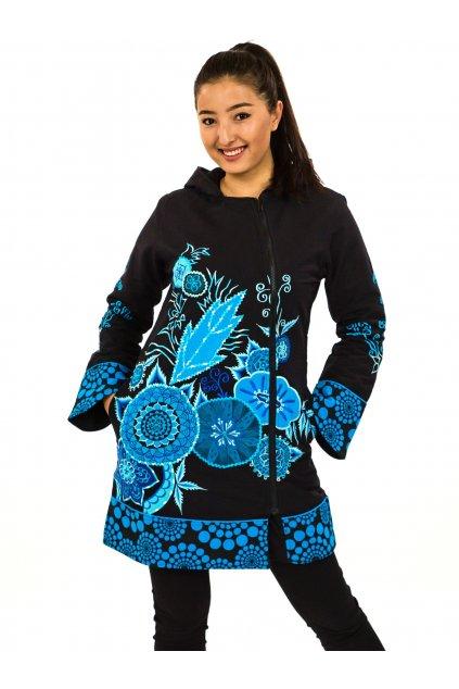Podzimní/zimní kabát Heena - černý s tyrkysovou